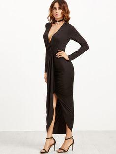 Vestido cruzado escote V con abertura - negro