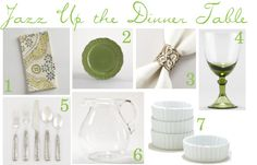 Green and white tablescape from #worldmarket