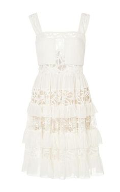 Crepe Georgette and Lace Tiered Short Dress by Elie Saab for Preorder on Moda Operandi