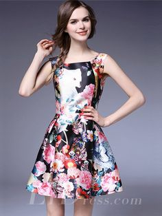 Spring 2016 Flower Print Princess Short Dress a792033a0966