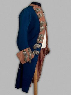 Peter III's Officer Caftan of the Essen Grenadier Battalion of the Holstein Army Holstein-Gottorp, 1762, Russian; Cloth, woolen cloth with twill weave, silver galloon, twist and tombac; silvered