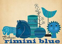 Bitossi blue - beautiful illustration of some Bitossi Pottery by Seven Star