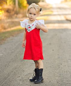 Another great find on #zulily! Red Fala Babydoll Dress - Infant, Toddler & Girls #zulilyfinds