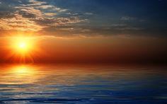 himmel | Bild, Horizont, Meer, Himmel, Sonne, Wolken, Sonnenuntergang