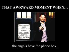 Cas with a Sonic Screwdriver in front of the TARDIS. @SierraMeyers