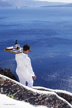 2013 year of gastronomy for santorini island. Room service at KATIKIES hotel in Oia.