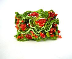 Beaded bracelet Beadwork bracelet Seed beads jewelry by ibics, $72.00