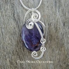 Amethyst Wire Wrapped Pendant Necklace in Silver by CareMoreCreations.com, $25.00