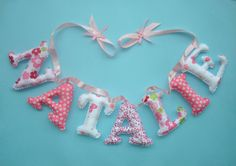 Girls Customized name banner Fouchsia  White by LittleFairyCottage, $7.00