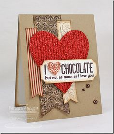 Chocolate Sentiments; Layered Label Die-namics; Heart STAX Die-namics; Fishtail Flags Layers STAX Die-namics - Barbara Anders