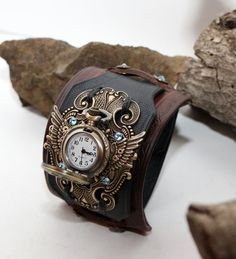 Leather Cuff Watch Steampunk Ladies Rose Hollow by BellozziDesigns
