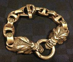 Bill Wall Leather custom made 1 of a kind silver dragon head bracelet
