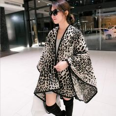 Fashion Women Winter blanket shawl Leopard printing thick ponchos available 3 colours 153*130cm 500gram Free shipping #Affiliate