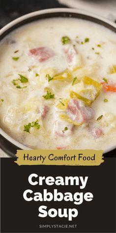 Cabbage Soup Recipes, Cabbage Soup Diet, Easy Soup Recipes, Chili Recipes, Cooking Recipes, Ham Recipes, Crock Pot Soup, Ham Soup, Eating Clean