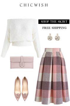 Check Wool-Blend Midi Skirt - Fashion - Source by womensfashionishier attire Modest Dresses, Modest Outfits, Skirt Outfits, Classy Outfits, Casual Outfits, Dress Casual, Modest Wear, Classy Dress, Unique Fashion
