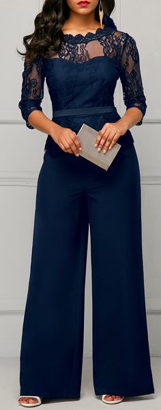 Scalloped Neckline Lace Panel Navy Jumpsuit