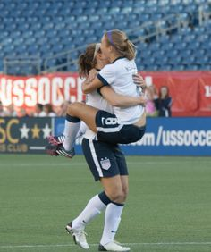 Boston native Kristie Mewis celebrates her first career international goal with Lauren Cheney. (Italo Alexander Photography)