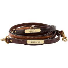 Personalized English Bridle Leather Dog Leash | dogIDs.com
