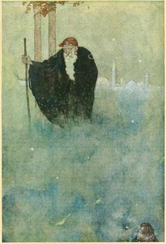 Stories from the Arabian Nights, 1911  Illustrations by Edmund Dulac    Now one night as he slept there appeared before him an ikd man if venerable appearance..
