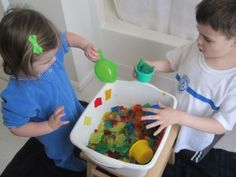 Gelatin sensory tub! This looks like fun :) and it covers both touch and smell. Sometimes it's hard to come up with new sensory activities for smell. Great idea!