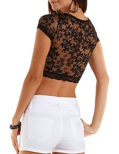 Short Sleeve Lace Crop Top: Charlotte Russe #lace #croptop