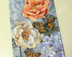 Floral+Paper+Napkins   ... and ROSES Blue paper napkin 1 Quality Guest Towel size napkin