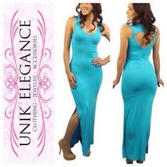 """Sleeveless Maxi Dress w/side slit and Back Cut out Sleeveless Maxi Dress w/side slit and Back Cut out detail      Imported  M 95% Rayon 5% Spandex  Turquoise  Model is wearing size:  Model's Measurements: S Bust: 31"""", Waist: 26"""", Hips: 36"""", Height: 5' 4"""" boutique Dresses Maxi"""