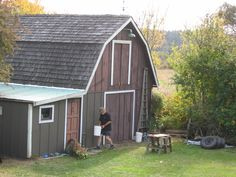 Painting the barn back in 2009