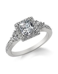 Princess Cut Halo Diamond Engagement Ring | Monique Lhuillier Fine Jewelry | http://trib.al/QTH5lOH