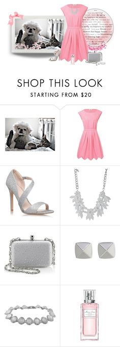 """""""Puppy & Kitty Love"""" by cindy-for-fashion ❤ liked on Polyvore featuring ColoredPrints, Moschino Cheap & Chic, Carvela Kurt Geiger, sweet deluxe, White House Black Market, Vince Camuto, Karen Kane and Christian Dior"""