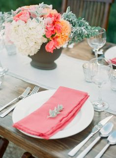 Coral Place Settings | More wedding decor on Style Me Pretty: http://www.StyleMePretty.com/southwest-weddings/2014/02/17/tuscan-wedding-inspiration-at-the-vineyard-at-florence/ Caroline Joy Photography