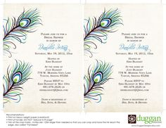 Peacock Party Invitation  5x7  Printable  Showers by DugganDesigns, $15.00