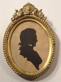 Antique Silhouette Pasted Man Oval Brass Frame Circa 1790 - 1810