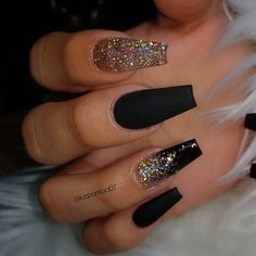 Stunning Nail Art Designs 2020 With Glam Details - Best Acrylic Nails, Ombre Nails, Nail Art Designs, Lipsticks Black Acrylic Nails, Summer Acrylic Nails, Best Acrylic Nails, Black Nails With Glitter, Acrylic Nails Glitter Ombre, Black Ombre Nails, Black Coffin Nails, Black Acrylics, Summer Nails