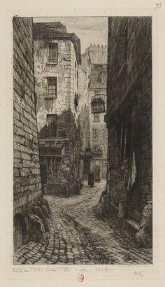 Rue des Trois Canettes vers 1865. Gravure à l'eau-forte d'Adolphe Martial Potémont (1828-1883), dit Martial, conservée au département des estampes de la BNF