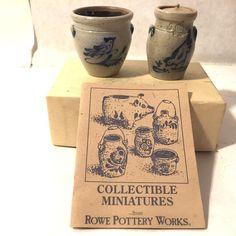 2 Vtg Rowe Pottery Miniature Salt Glaze Crock & Jar w Lid Rooster Bird 1989 1992
