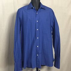 "Lazo Altera - Men's - Size 16 - Dress Shirt Excellent condition. Looks like new - no stains, snags, or rips!  100% Cotton  Button Down  Long Sleeve  Blue / White Pattern  Regular Fit  Size 16   Measurements (approx.) while item is lying flat on surface:  Chest (armpit to armpit): 24""- You have to double this length to get chest circumference   Length (from the back of the neck to bottom): 34""  Shoulder to shoulder: 20""                              Sleeves (from top of shoulder to end of…"