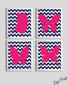 Nursery wall art. Chevron. Hot Pink.   Girl's room. #baby #nursery #room