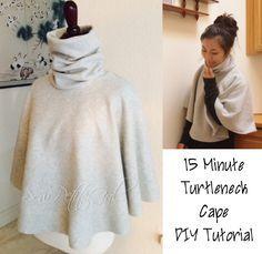 15 Minute Turtleneck Fleece Cape DIY Tutorial