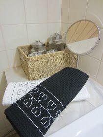 Tee-se-itse-naisen sisustusblogi: Vohvelikirjontaa pyyhkeisiin