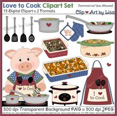 13 Digital Clipart X 2 Formats Love To Cook Clipart Set Commercial Use Cooking Clipart, Food Clipart, Art Images, Main Dishes, Commercial, Clip Art, Digital, Book, Main Course Dishes