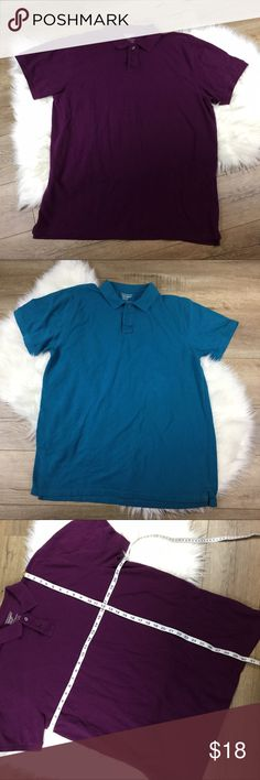Purple and teal slim fit polo shirt bundle Set of two slim fit polos from old navy size XXL. One purple one teal measurements in pix can sell separate. Old Navy Shirts Polos