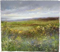Amanda Hoskin - Across the Fields to Mounts Bay - Oil on paper