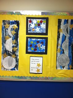 Papa please get the moon for me... Kindergarten painting and cray pas moons!