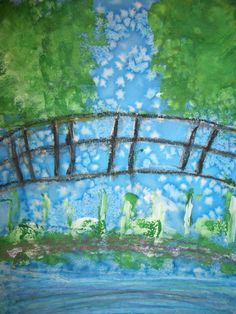 Grade 2 worked hard creating these paintings inspired by Monet's Japanese Bridge masterpiece. Many steps and mediums were used over a period... #learnjapaneseforkidslessonplans
