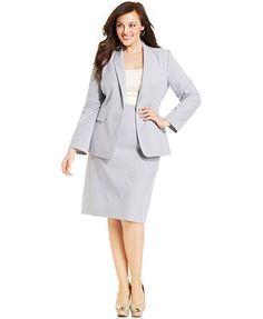 Tahari ASL Plus Size One-Button Seersucker Jacket & Seersucker Skirt