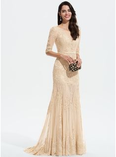 9c244311b9e9 [ 255.99] Trumpet/Mermaid Scoop Neck Sweep Train Tulle Prom Dresses With  Lace (018175942)