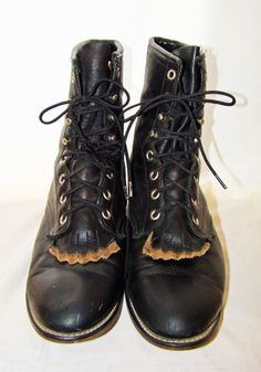 Laredo Black Leather Equestrian Western Paddock Lace-Up Boot Kiltie Womens 10 #Laredo #CowboyWestern