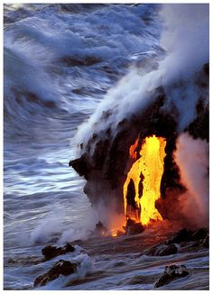 Lava Reaching the Sea at Hawaii Volcanoes National Park