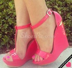 Brilliant pink patent leather ankle strap wedge sandals❣ shoespie.com